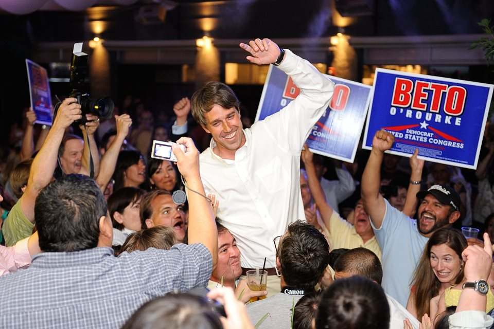 Beto O'Rourke and supporters celebrate his win over incumbent Congressman Silvestre Reyes.