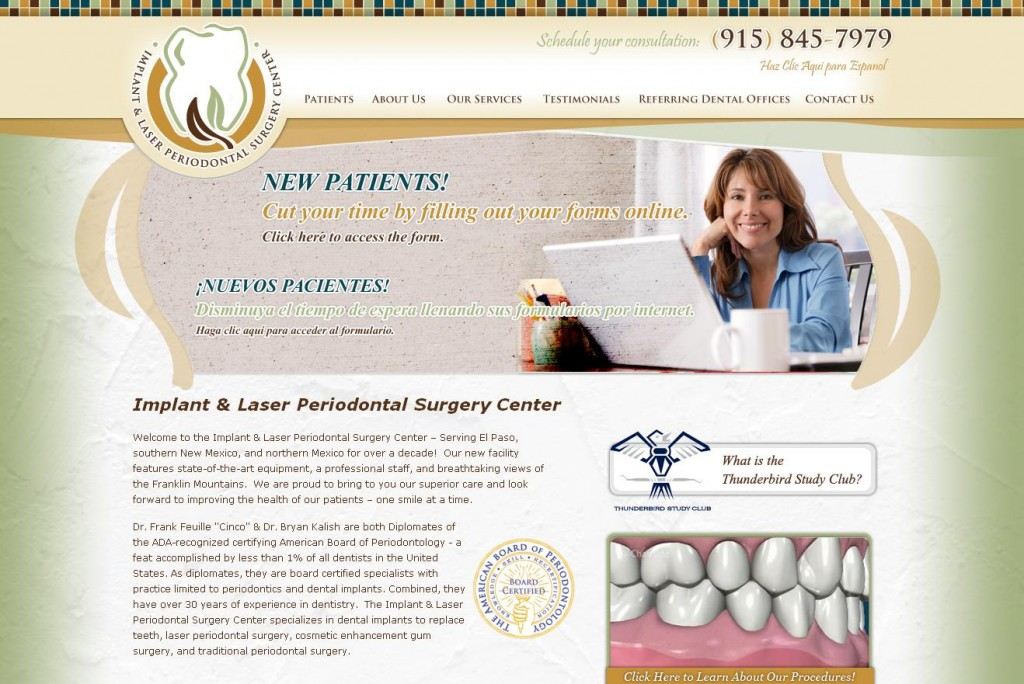 The homepage for the El Paso Implant & Laser Periodontal Surgery Center website includes a link to their Facebook page, a banner with rotating messages and a video which details some of their procedures.