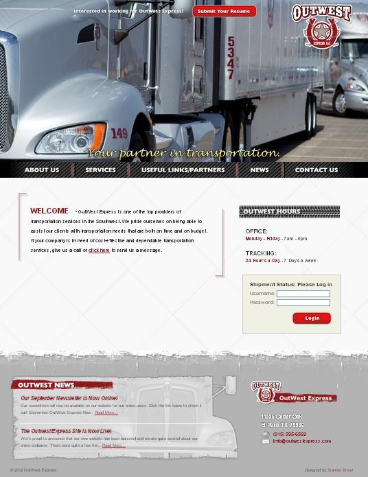 OutWest Express, OutWest Express website, transportation services, transportation services website