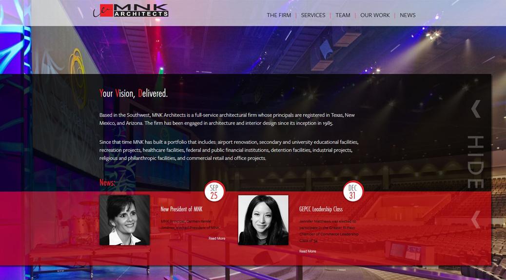 MNKArchitects.com homepage screenshot