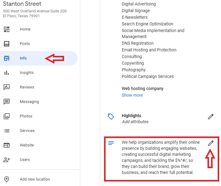 Google My Business Listing Dashboard